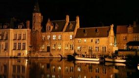 布鲁日运河在晚上,比利时 股票录像
