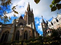 布鲁日,布鲁基,比利时 比利时布鲁日 中世纪的城市 我们的夫人布鲁日Onze辛迪里夫Vrouw布鲁基教会  图库摄影