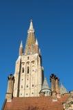 布鲁日,比利时欧洲- 9月25日:我们的增殖比的夫人教会  免版税库存照片