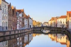 布鲁日,比利时运河  免版税图库摄影