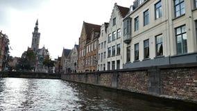 布鲁日,比利时,运河Spiegelrei风景城市视图  影视素材