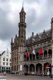 布鲁日,比利时- 2014年6月10日:布鲁日historium博物馆的外部 免版税库存照片