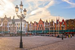 布鲁日,比利时- 2013年7月17日:镇中心都市风景视图我 免版税图库摄影
