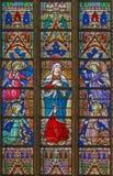 布鲁日,比利时- 2014年6月12日:窗玻璃的圣母玛丽亚在圣Salvator的大教堂里 库存图片