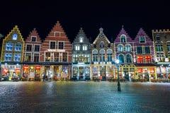 布鲁日,比利时- 2016年12月05日-圣诞节老集市广场在布鲁日 免版税图库摄影