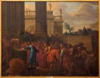 布鲁日-圣马克福音传教士giv施舍(1694)在st Jacobs教会(Jakobskerk)里 免版税库存照片