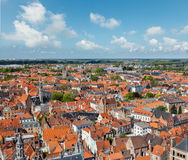 布鲁日(布鲁基),比利时鸟瞰图  库存图片