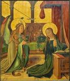 布鲁日-由未知的画家的通告场面从15 分 在教会里我们的夫人 库存图片