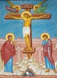布鲁日-耶稣场面在十字架上钉死的壁画在st Constanstine和海伦娜orthodx教会里(2007年- 2008) 图库摄影