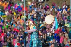 廷布-不丹, 12月13日:Dochula Druk Wangyel节日2014年 库存照片