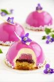布什与奶油的蓝莓蛋糕 图库摄影