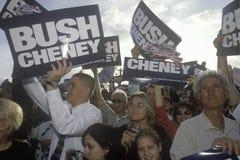 布什/切尼竞选集会在Costa Mesa,加州 图库摄影