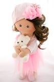 布洋娃娃纺织品手工制造与自然头发 库存图片