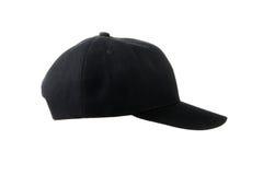 黑帆布盖帽的右边,隔绝在白色 库存照片