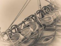帆柱索具详细的特写镜头在帆船的 免版税库存图片