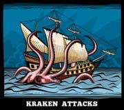 帆船和Kraken妖怪章鱼导航在动画片样式的商标 免版税库存照片