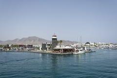 帆船在兰萨罗特岛的港口小游艇船坞Rubicon在 库存图片