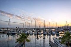 帆船在兰萨罗特岛的港口小游艇船坞Rubicon在 免版税图库摄影