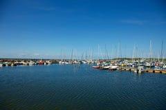 帆船在小游艇船坞,博恩霍尔姆 免版税图库摄影