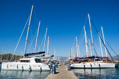 帆船在港口 库存图片