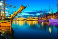 帆船在高船期间的港口赛跑 库存照片
