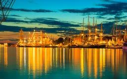 帆船在高船期间的港口赛跑 免版税图库摄影