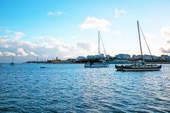 帆船在从波尔蒂芒葡萄牙的港口 图库摄影