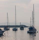 帆船小游艇船坞埃斯特角乌拉圭 免版税库存图片