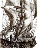 帆船甲板的水手  免版税库存图片