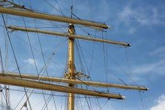 帆船的帆柱和索具 图库摄影
