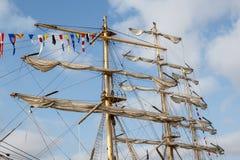 帆船的帆柱和索具 免版税库存照片