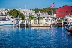 帆船的驶离马路驻地在鳕鱼角,马萨诸塞 图库摄影