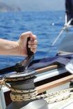 帆船绞盘 免版税库存照片