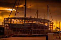 帆船船坞的恢复站点 免版税库存图片