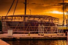 帆船船坞的恢复站点 免版税库存照片