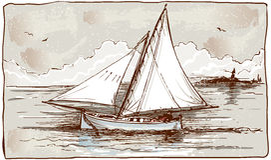 帆船葡萄酒视图在海的 库存照片