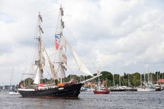 帆船默西迪丝在公开事件hanse风帆 免版税库存图片