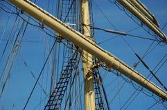 帆船` Kruzenshtern `的索具 免版税库存图片