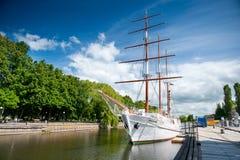 帆船Meridianas在克莱佩达,立陶宛 免版税库存照片