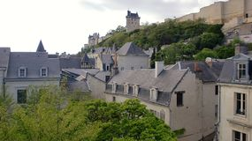 希农城堡全景在法国 库存图片