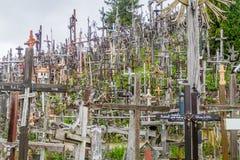 希奥利艾,立陶宛- 2016年8月18日:十字架山,北Lithuan的朝圣站点 免版税库存照片
