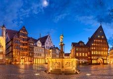 希尔德斯海姆,德国集市广场  免版税库存图片