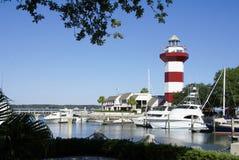 希尔顿总部港口城镇灯塔 免版税库存图片