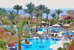 希尔顿鲨鱼海湾旅馆游泳池  免版税库存照片
