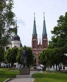 希恩、一个城市和自治市的市中心在泰勒马克郡县,挪威 免版税库存照片