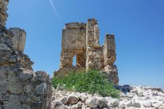 希拉波利斯古城视图, fethiye, mugla,火鸡Nekropolis  库存照片
