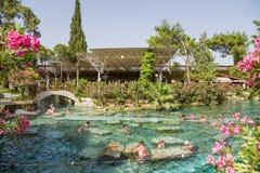 希拉波利斯(棉花堡),土耳其 古色古香的水池(水池帕特拉) 免版税库存照片