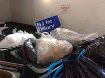 希拉里的,美国总统选举围场NJ签到垃圾 库存图片