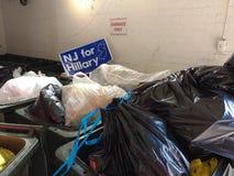 希拉里的,美国总统选举围场NJ签到垃圾 免版税库存照片
