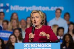 希拉里・克林顿秘书讲话在2016次竞选集会 免版税库存图片